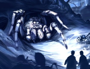 Aragog coming out of his lair with Harry Potter and Ron Weasly