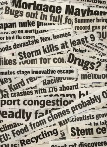 Stack of Newspaper Headlines - Burns out, Storm Kills, Drugs, Recycling, Stem cells