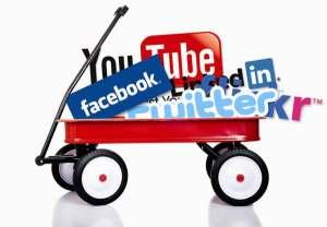 Wagon full of social netowrking site logos