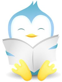 Twitter bird reading a book.