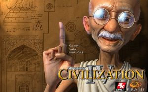 Civilization IV advertizement featuring Mahatma Gandi