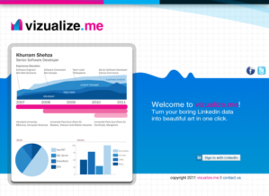 Vizualize.me example of personal inforgraphic based on LinkedIn profile, used for personal branding and social media marketing