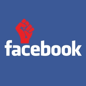 Facebook Protest, Red Fist above Facebook Logo