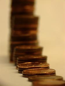 Stacks of pennies